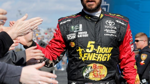 <p>               Martin Truex Jr., greets fans during driver introductions prior to the start of the Monster Energy NASCAR Cup Series race at Martinsville Speedway in Martinsville, Va., Sunday, Oct. 28, 2018. (AP Photo/Steve Helber)             </p>