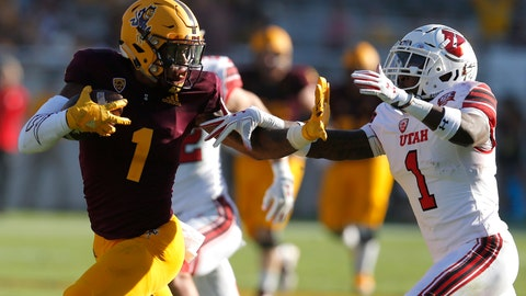 <p>               Arizona State wide receiver N'Keal Harry (1) fends off Utah defensive back Jaylon Johnson in the second half of an NCAA college football game, Saturday, Nov. 3, 2018, in Tempe, Ariz. (AP Photo/Rick Scuteri)             </p>