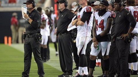 <p>               FILE - In this Aug. 25, 2018, file photo, Atlanta Falcons head coach Dan Quinn, second from left, and quarterback Matt Ryan, center, watch as offensive coordinator Steve Sarkisian, left, calls a play from the sideline during the second half of an NFL preseason football game against the Jacksonville Jaguars in Jacksonville, Fla. Sarkisian faces one of his toughest challenges of the season _ trying to find a way for his suspect rushing attack to gain ground against Washington's stout front.(AP Photo/Phelan M. Ebenhack, File)             </p>