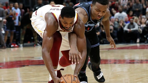 <p>               Cleveland Cavaliers forward/center Tristan Thompson, left, battles for a loose ball against Chicago Bulls center Wendell Carter Jr., during the second half of an NBA basketball game Saturday, Nov. 10, 2018, in Chicago. The Bulls won 99-98. (AP Photo/Nam Y. Huh)             </p>