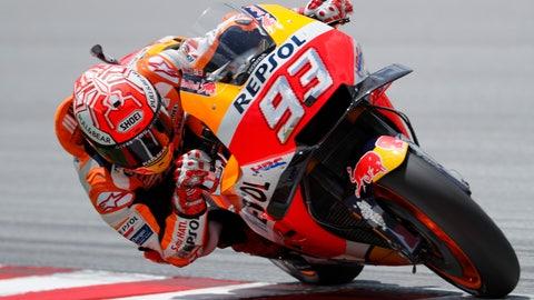 <p>               Honda rider Marc Marquez of Spain powers his bike during the Malaysia MotoGP at the Sepang International Circuit in Sepang, Malaysia, Sunday, Nov. 4, 2018. (AP Photo/Vincent Thian)             </p>