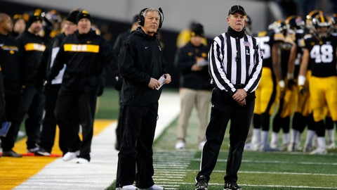 <p>               Iowa head coach Kirk Ferentz, left, watches a replay during the second half of an NCAA college football game against Northwestern, Saturday, Nov. 10, 2018, in Iowa City, Iowa. Northwestern won 14-10. (AP Photo/Charlie Neibergall)             </p>