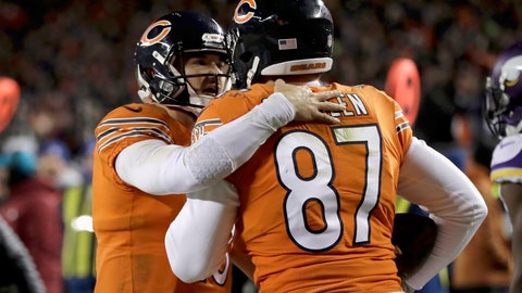 <p>               Chicago Bears quarterback Mitchell Trubisky (10) celebrates with tight end Adam Shaheen (87) after successfully throwing a 2-point conversion pass during the second half of an NFL football game against the Minnesota Vikings Sunday, Nov. 18, 2018, in Chicago. (AP Photo/Nam Y. Huh)             </p>