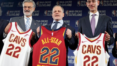 <p>               Cleveland Mayor Frank Jackson, left, Cavaliers chairman Dan Gilbert, center, and NBA Commissioner Adam Silver hold up No. 22 all-star jerseys, Thursday, Nov. 1, 2018, in Cleveland. The 71st NBA All-Star game will take place at Quicken Loans Arena in Cleveland. The Cavaliers previously hosted the NBA All-Star game in 1997, when the NBA celebrated its 50th anniversary, and in 1981. (AP Photo/Tony Dejak)             </p>