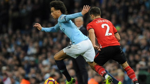 <p>               Manchester City's Leroy Sane, left, duels for the ball with Southampton's Cedric Soares during the English Premier League soccer match between Manchester City and Southampton at Etihad stadium in Manchester, England, Sunday, Nov. 4, 2018. (AP Photo/Rui Vieira)             </p>