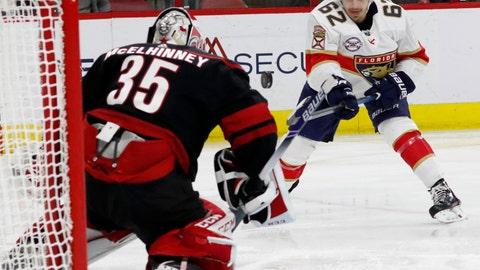<p>               Florida Panthers' Denis Malgin (62) takes a shot at Carolina Hurricanes goaltender Curtis McElhinney (35) during the second period of an NHL hockey game, Friday, Nov. 23, 2018, in Raleigh, N.C. (AP Photo/Karl B DeBlaker)             </p>