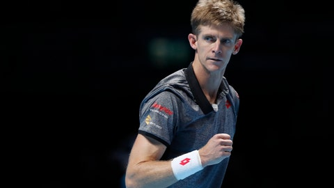 <p>               Kevin Anderson of South Africa reacts after winning the first set against Kei Nishikori of Japan during their ATP World Tour Finals tennis match at the O2 arena in London, Tuesday, Nov. 13, 2018. (AP Photo/Alastair Grant)             </p>