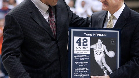 <p>               FILE - In this Feb. 5, 2007, file photo, former Connecticut basketball player Tony Hanson, left, shares a light moment with UConn Director of Athletics Jeff Hathaway as Hansen was honored at halftime of an NCAA college basketball game between UConn and Syracuse in Storrs, Conn. Hanson died Sunday, Nov. 25, 2018, at his home in Windham, Conn. He was 63. (AP Photo/Bob Child, File)             </p>