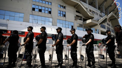 <p>               Riot police stand in line with their shields outside Antonio Vespucio Liberti stadium prior to the final Copa Libertadores match between Boca Juniors and River Plate in Buenos Aires, Argentina, Sunday, Nov. 25, 2018. (AP Photo/Ricardo Mazalan)             </p>