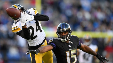 <p>               Pittsburgh Steelers cornerback Coty Sensabaugh, left, breaks up a pass-attempt to Baltimore Ravens wide receiver Michael Crabtree in the second half of an NFL football game, Sunday, Nov. 4, 2018, in Baltimore. (AP Photo/Nick Wass)             </p>