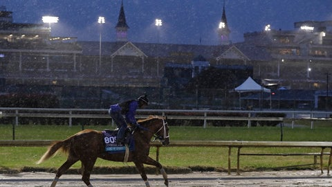 <p>               An exercise rider rides King of Speed during morning workouts before the Breeders Cup horse races at Churchill Downs, Thursday, Nov. 1, 2018, in Louisville, Ky. (AP Photo/Darron Cummings)             </p>