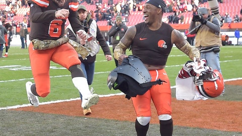 <p>               FILE - In this Nov. 11, 2018, file photo, Cleveland Browns quarterback Baker Mayfield (6) and strong safety Damarious Randall celebrate after a 28-16 win over the Atlanta Falcons in an NFL football game, in Cleveland. Mayfield threw a season-high three touchdown passes as the Browns ended a four-game losing streak with their best all-around performance in years. (AP Photo/David Richard, File)             </p>