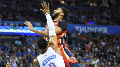 <p>               New Orleans forward Anthony Davis shoots the ball over Oklahoma City guard Russell Westbrook (0) in the first half of an NBA basketball game in Oklahoma City, Monday, Nov. 5, 2018. (AP Photo/Kyle Phillips)             </p>