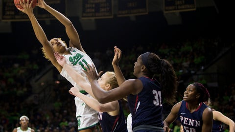 <p>               Notre Dame's Brianna Turner (11) grabs a rebound over Pennsylvania's Ashley Russell, center, and Eleah Parker (31) during the first half of an NCAA college basketball game Monday, Nov. 12, 2018, in South Bend, Ind. (AP Photo/Robert Franklin)             </p>