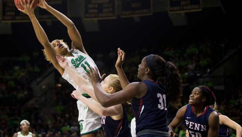 No. 1 Irish start slow, finish fast in beating Penn 75-55