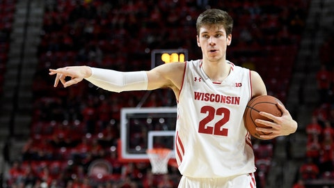 <p>               FILE - In this  Sunday, Feb. 4, 2018 file photo, Wisconsin forward Ethan Happ (22) points during the first half of an NCAA basketball game against Maryland in College Park, Md. Every so often, Wisconsin's Ethan Happ makes a move around the bucket that reminds some college basketball experts of NBA Hall of Famer Kevin McHale. It's not just about the shot itself, but how Happ frees himself to get to the hoop in the first place for the 25th-ranked Badgers(AP Photo/Nick Wass, File)             </p>