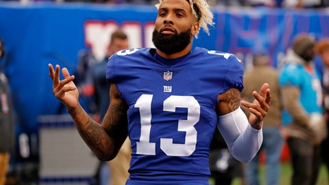 <p>               FILE - In this Oct. 28, 2018, file photo, New York Giants wide receiver Odell Beckham (13) gestures before an NFL football game against the Washington Redskins in East Rutherford, N.J. Beckham Jr. is hopeful that his 1-7 team can win the final eight games of the season and somehow sneak into the playoffs. (AP Photo/Adam Hunger, File)             </p>