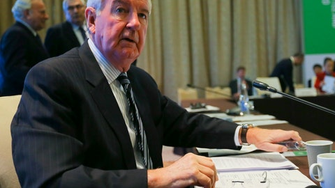 <p>               WADA President Craig Reedie attends the World Anti-Doping Agency's board meeting in Baku, Azerbaijan, Thursday, Nov. 15, 2018. The World Anti-Doping Agency's board meets Thursday to discuss issues including Russia's record on drug-testing, following disputes over alleged bullying within WADA. (AP Photo)             </p>
