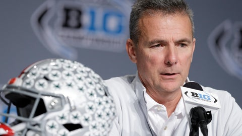 <p>               Ohio State head coach Urban Meyer speaks during a news conference for the Big Ten Conference championship NCAA college football game, Friday, Nov. 30, 2018, in Indianapolis. Northwestern will play Ohio State on Saturday for the championship. (AP Photo/Darron Cummings)             </p>