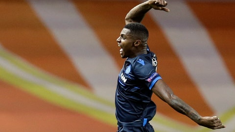 <p>               Brugge forward Wesley Moraes celebrates his goal during the Champions League Group A soccer match between Monaco and Club Brugge at the Louis II stadium in Monaco, Tuesday, Nov. 6, 2018. (AP Photo/Claude Paris)             </p>