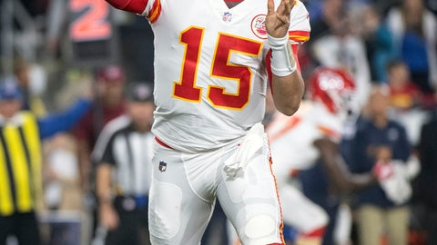 <p>               FILE - In this Nov. 19, 2018, file photo, Kansas City Chiefs quarterback Patrick Mahomes throws a pass during an NFL football game against the Los Angeles Rams, in Los Angeles. The Oakland Raiders host the Chiefs on Sunday. (AP Photo/Kyusung Gong, File)             </p>