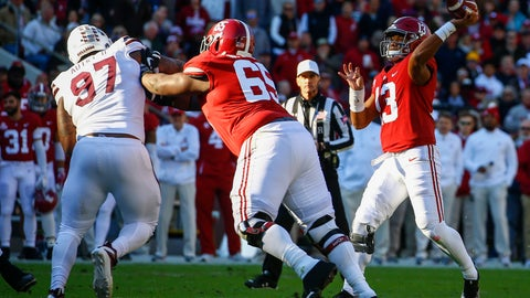 <p>               Alabama quarterback Tua Tagovailoa (13) throws a pass during the first half of an NCAA college football game against Mississippi State, Saturday, Nov. 10, 2018, in Tuscaloosa, Ala. (AP Photo/Butch Dill)             </p>