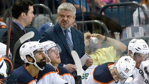 <p>               FILE - In this March 18, 2018, file photo, Edmonton Oilers head coach Todd McLellan is shown during the third period of an NHL hockey game against the Tampa Bay Lightning, in Tampa, Fla. The Oilers have fired coach Todd McLellan and replaced him with Ken Hitchcock with the team languishing in sixth place in the Pacific Division. McLellan was in his fourth season behind the Oilers' bench. The team missed the playoffs in two of his previous three seasons despite having superstar Connor McDavid on its roster. The Oilers were just 9-10-1 entering its game Tuesday night, Nov. 20, 2018, at San Jose.(AP Photo/Jason Behnken, File)             </p>