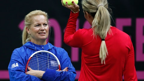 <p>               US captain Kathy Rinaldi, left, talks to Danielle Rose Collins, right, during a training session prior to the final match of the Fed Cup between Czech Republic and USA in Prague, Czech Republic, Wednesday, Nov. 7, 2018. (AP Photo/Petr David Josek)             </p>