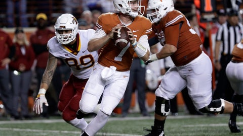 <p>               Texas quarterback Shane Buechele (7) looks to throw against Iowa State during the second half of an NCAA college football game, Saturday, Nov. 17, 2018, in Austin, Texas. (AP Photo/Eric Gay)             </p>
