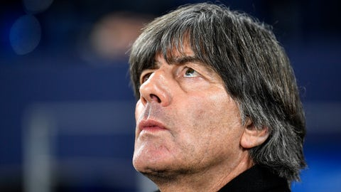 <p>               Germany's head coach Joachim Loew looks up during the UEFA Nations League soccer match between Germany and The Netherlands in Gelsenkirchen, Monday, Nov. 19, 2018. (AP Photo/Martin Meissner)             </p>