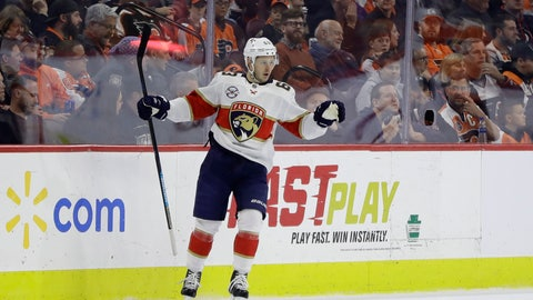 <p>               Florida Panthers' Evgenii Dadonov celebrates after scoring a goal during the second period of an NHL hockey game against the Philadelphia Flyers, Tuesday, Nov. 13, 2018, in Philadelphia. (AP Photo/Matt Slocum)             </p>