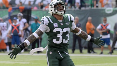 <p>               FILE - In this  Sunday, Oct. 7, 2018 file photo, New York Jets strong safety Jamal Adams (33) celebrates during the second half of an NFL football game against the Denver Broncos in East Rutherford, N.J. amal Adams was still trying to process everything two days later.  The New York Jets playmaking safety absolutely can't stand losing, and the team's embarrassing 41-10 defeat at the hands of the Matt Barkley-led Buffalo Bills stung him.(AP Photo/Bill Kostroun, File)             </p>