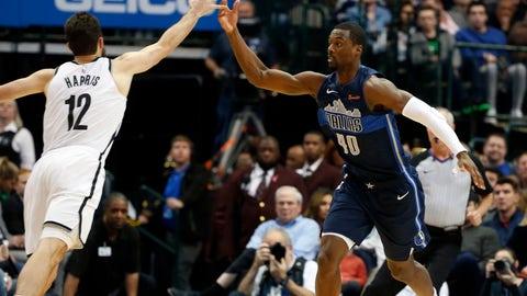 <p>               Dallas Mavericks forward Harrison Barnes (40) tips the ball away form Brooklyn Nets forward Joe Harris (12) during the first half of an NBA basketball game in Dallas, Wednesday, Nov. 21, 2018. (AP Photo/Michael Ainsworth)             </p>