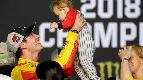 <p>               Joey Logano holds his son Hudson after winning the NASCAR Cup Series Championship auto race at the Homestead-Miami Speedway, Sunday, Nov. 18, 2018, in Homestead, Fla. (AP Photo/Lynne Sladky)             </p>