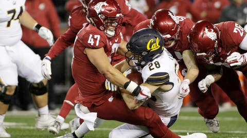 <p>               Washington State linebacker Peyton Pelluer (47) tackles California running back Patrick Laird (28) during the first half of an NCAA college football game in Pullman, Wash., Saturday, Nov. 3, 2018. (AP Photo/Young Kwak)             </p>