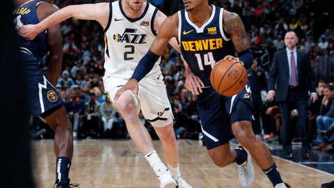 <p>               Denver Nuggets guard Gary Harris, right, drives past Utah Jazz forward Joe Ingles during the first half of an NBA basketball game Saturday, Nov. 3, 2018, in Denver. (AP Photo/David Zalubowski)             </p>