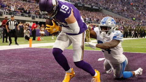 <p>               FILE - In this Nov. 4, 2018, file photo, Minnesota Vikings wide receiver Adam Thielen (19) catches a 2-yard touchdown pass ahead of Detroit Lions cornerback Nevin Lawson, right, during the first half of an NFL football game in Minneapolis. Thielen became the first player to have eight 100-yard receiving games to start a season, tying Calvin Johnson for the longest streak of such games. The former undrafted wide receiver has 78 catches for the Vikings. He's on pace to challenge Marvin Harrison's single-season record of 143. (AP Photo/Bruce Kluckhohn, File)             </p>