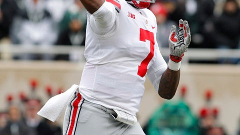 <p>               Ohio State quarterback Dwayne Haskins throws a pass against Michigan State during the first quarter of an NCAA college football game, Saturday, Nov. 10, 2018, in East Lansing, Mich. (AP Photo/Al Goldis)             </p>