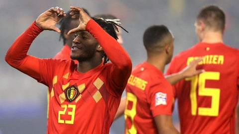 <p>               Belgium's Michy Batshuayi, left, jubilates after scoring his sides first goal during the UEFA Nations League soccer match between Belgium and Iceland at the King Baudouin stadium in Brussels, Thursday, Nov. 15, 2018. (AP Photo/Francisco Seco)             </p>
