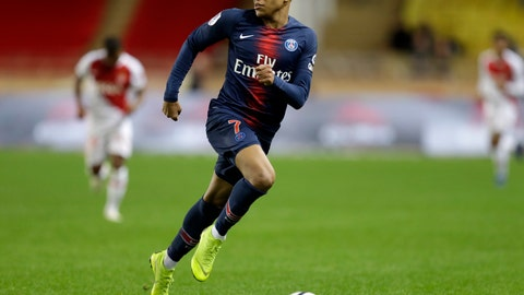 <p>               PSG's Kylian Mbappe runs with the ball during the French League One soccer match between AS Monaco and Paris Saint-Germain at Stade Louis II in Monaco, Sunday, Nov. 11, 2018 (AP Photo/Claude Paris)             </p>