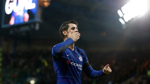 <p>               Chelsea's Alvaro Morata celebrates after scoring the opening goal during the English Premier League soccer match between Chelsea and Crystal Palace at Stamford Bridge stadium in London, Sunday, Nov. 4, 2018. Morata scored twice in Chelsea's 3-1 victory. (AP Photo/Frank Augstein)             </p>