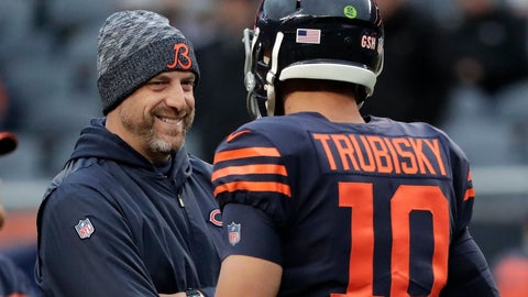 <p>               FILE -  In this Sunday, Oct. 28, 2018, file photo, Chicago Bears head coach Matt Nagy talks to quarterback Mitchell Trubisky (10) before an NFL football game against the New York Jets in Chicago. The Bears face the Buffalo Bills on Sunday. (AP Photo/Nam Y. Huh, File)             </p>