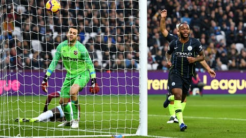 <p>               West Ham United goalkeeper Lukasz Fabianski, left, appears dejected as Manchester City's Raheem Sterling celebrates scoring his side's second goal of the game during their English Premier League soccer match at The London Stadium, London, Saturday, Nov 24, 2018. (Dominic Lipinski/PA via AP)             </p>