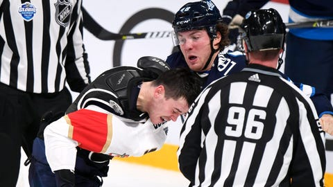 <p>               MacKenzie Weegar of the Florida Panthers, left, and Brendan Lemieux of the Winnipeg Jets, right, fight during the NHL Global Series Challenge ice hockey match  Friday, Nov. 2, 2018 in Helsinki, Finland. (Martti Kainulainen via Lehtikuva)             </p>