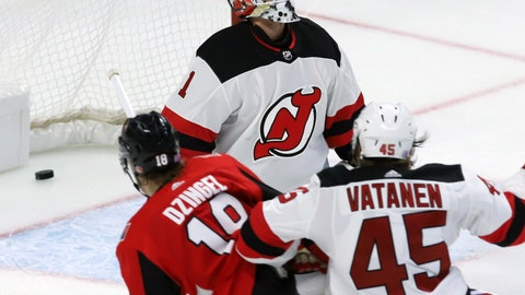 <p>               New Jersey Devils goaltender Keith Kinkaid (1) reacts after Ottawa Senators left wing Ryan Dzingel (18) scores during the third period of an NHL hockey game, Tuesday, Nov. 6, 2018 in Ottawa, Ontario. (Fred Chartrand/The Canadian Press via AP)             </p>
