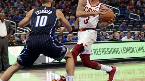 <p>               FILE - In this Nov. 5, 2018, file photo, Cleveland Cavaliers' George Hill (3) drives to the basket against Orlando Magic's Evan Fournier (10) during the first half of an NBA basketball game in Orlando, Fla. A person familiar with the situation says Hill will miss at least two weeks with a shoulder injury. Hill, who was kept out of Wednesday's loss to Oklahoma City due to soreness, has a sprained shoulder, said the person who spoke to The Associated Press on condition of anonymity because the team has not yet provided an update on the veteran guard's condition. (AP Photo/John Raoux, File)             </p>
