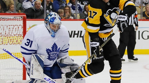 <p>               Pittsburgh Penguins' Bryan Rust (17) can't redirect a shot in front of Toronto Maple Leafs goaltender Frederik Andersen (31) who makes the save during the second period of an NHL hockey game in Pittsburgh, Saturday, Nov. 3, 2018. (AP Photo/Gene J. Puskar)             </p>