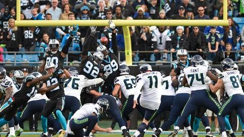 <p>               Seattle Seahawks' Sebastian Janikowski (11) kicks his game-winning field goal against the Carolina Panthers during the second half of an NFL football game in Charlotte, N.C., Sunday, Nov. 25, 2018. (AP Photo/Mike McCarn)             </p>