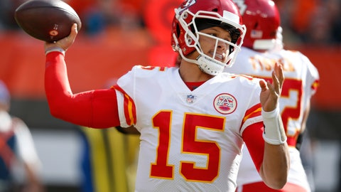 <p>               FILE - In this Sunday, Nov. 4, 2018 file photo, Kansas City Chiefs quarterback Patrick Mahomes throws during the first half of an NFL football game against the Cleveland Browns in Cleveland. What some are calling the NFL's Game of the Year already has made huge headlines by being moved out of Mexico City because of poor playing conditions. Chiefs-Rams is back in Los Angeles. (AP Photo/Ron Schwane, File)             </p>