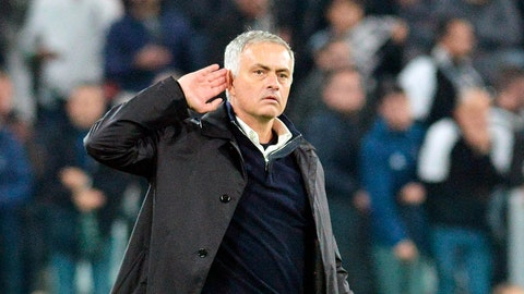 <p>               Manchester United coach Jose Mourinho reacts towards Juventus' fans at the end of of the Champions League Group H soccer match between Juventus and Manchester United, at the Allianz Stadium in Turin, Italy, Wednesday, Nov. 7, 2018. Manchester United won 2-1. (Alessandro Di Marco/ANSA via AP)             </p>